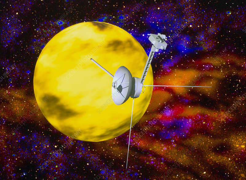 Computer art of Voyager spacecraft passing planet