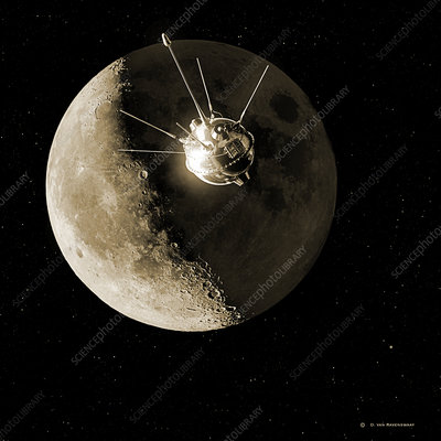 Luna 1 spacecraft at the Moon, 1959