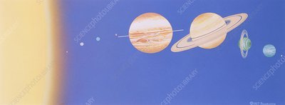 Illustration showing Sun and planets