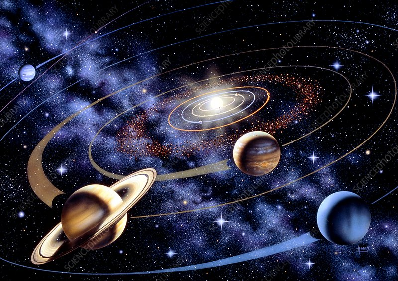 Artwork showing the planets in the solar system