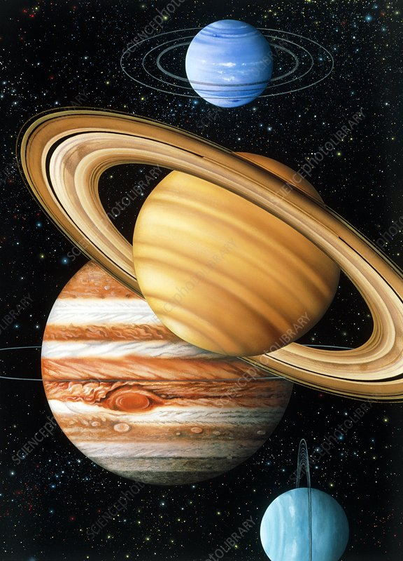 Artwork of the solar system's 4 gas giant planets