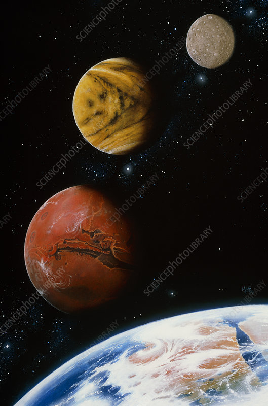 Artwork of the Earth, Venus, Mars and Mercury
