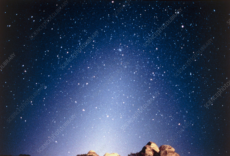 Optical image of zodiacal light before dawn
