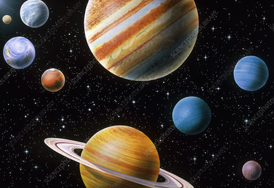 Artwork of the solar system planets