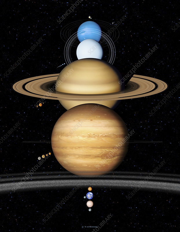 Caption: Solar system planets. Artwork of the nine planets of the solar