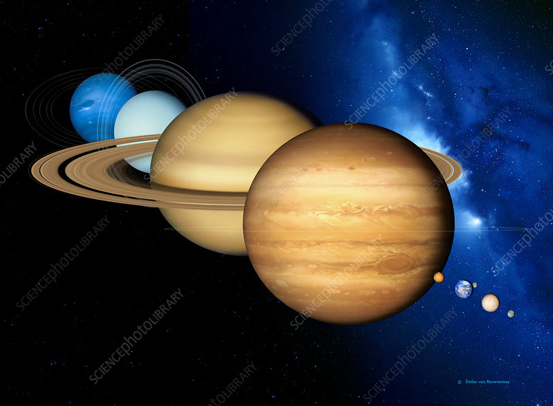 Caption: Solar system planets. Artwork of the eight planets of the solar