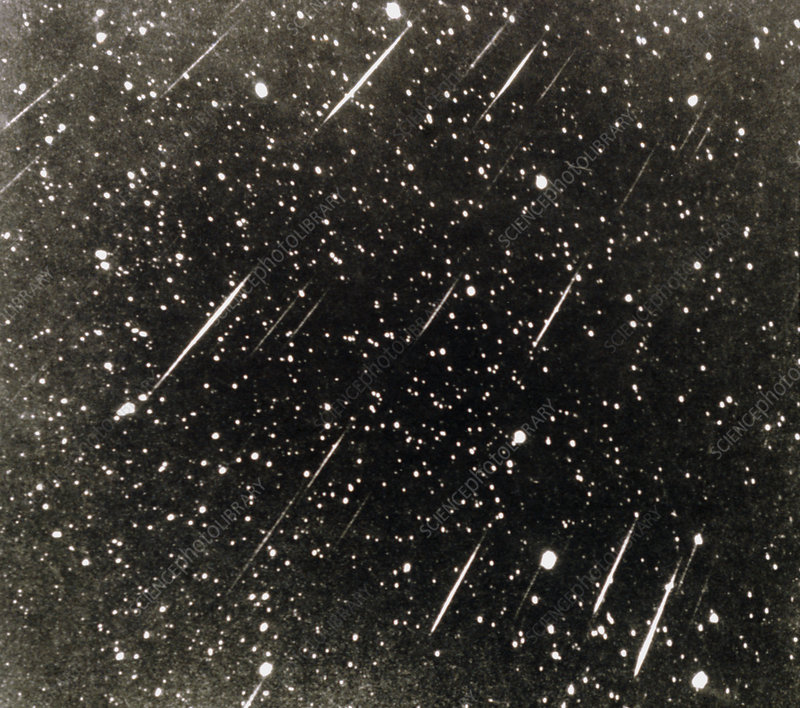 Time exposure photo of Leonid meteor shower, 1966