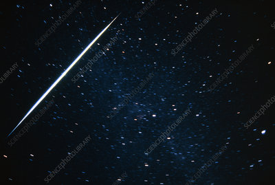 A meteor track in the constellation of Cygnus