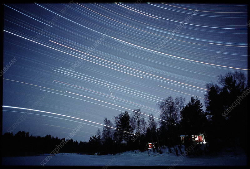 Meteor track and star trails
