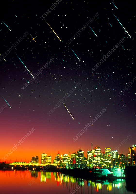 Composite image of meteors over a city at night