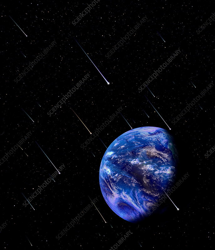 Composite image of meteors approaching the Earth