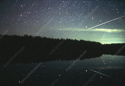 Meteor over lake