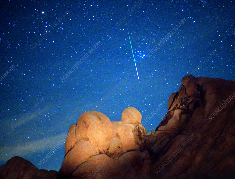 Leonid meteor and Pleiades star cluster