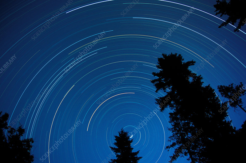 Star tracks in an evening sky