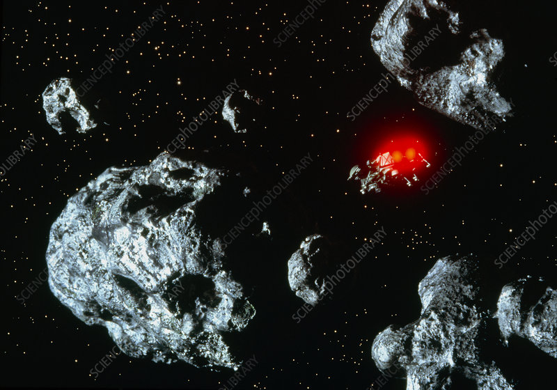 Artwork of manned space probe amongst asteroids