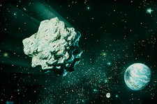 Artwork of asteroid on collision course with Earth