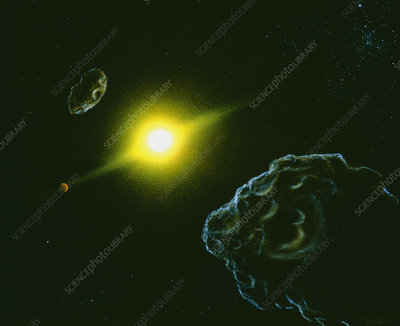 Artist's impression of view from the asteroid belt
