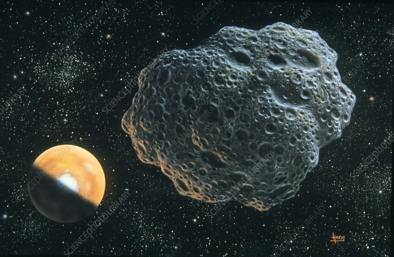 Illustration of asteroid Amor passing Mars