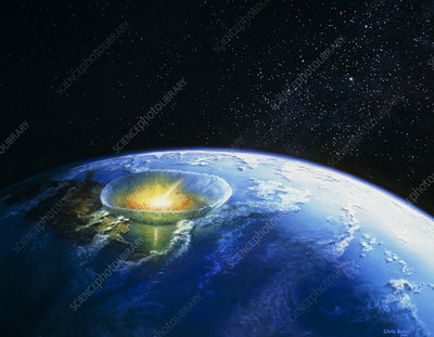 Artist's impression of asteroid stiking Earth