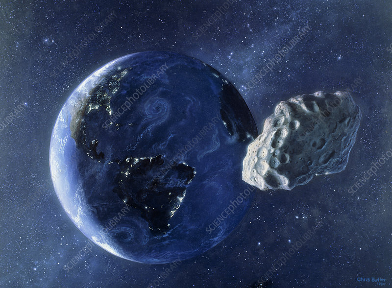 Artwork of asteroid passing close to Earth