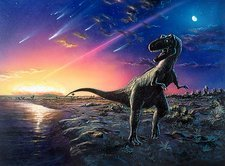 Tyrannosaurus rex fleeing from an asteroid strike