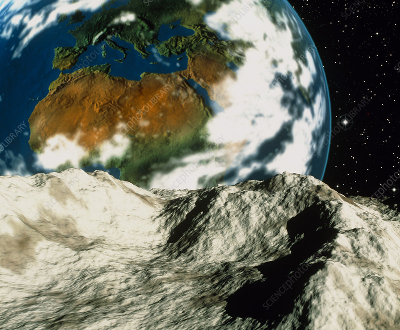 Artwork of an asteroid approaching Earth