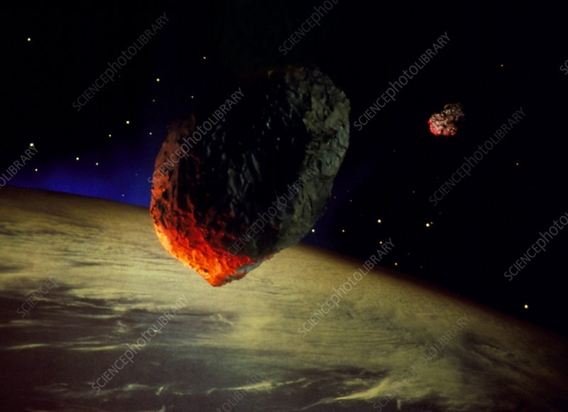 Artwork of asteroids approaching Earth