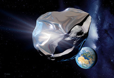 Asteroid deflection, reflective wrapping