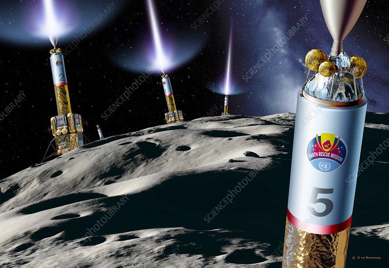 Asteroid Deflection  Rocket Thrust  0117