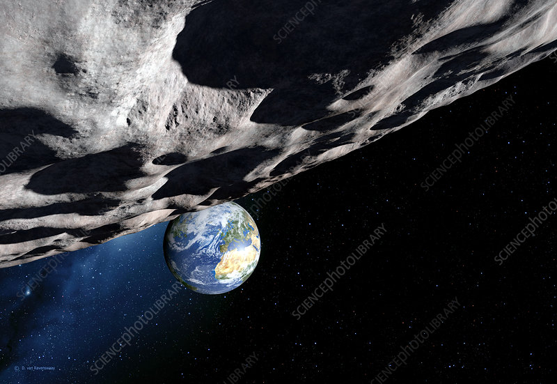 Near-Earth asteroid Apophis, artwork - Stock Image R310 ...