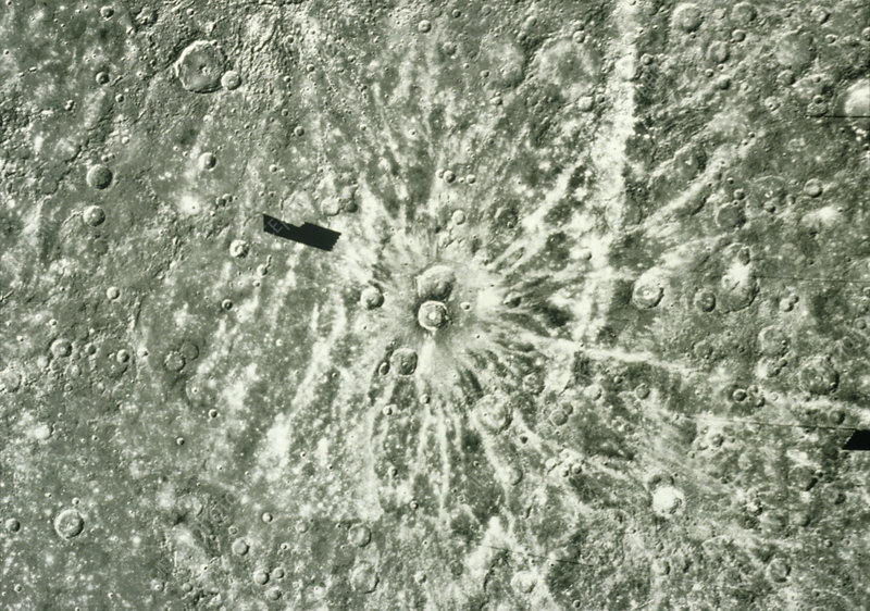 Mariner 10 photo of Degas, a crater on Mercury
