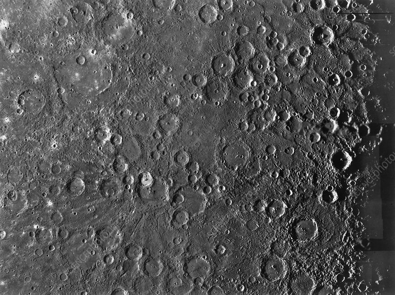 Mariner 10 photograph of the surface of Mercury