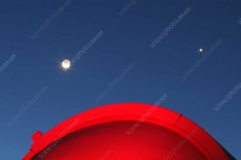 Venus, Crescent Moon, and Dome