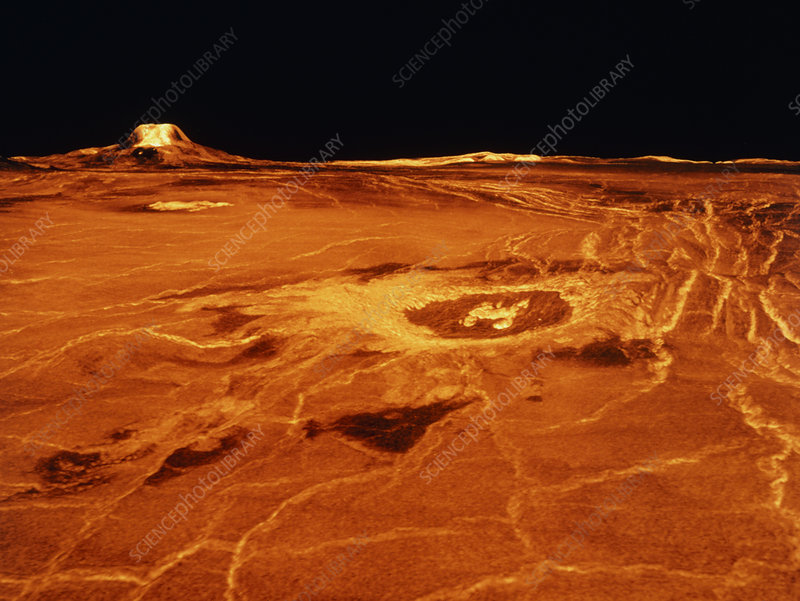 False-col. 3D view of Cunitz Crater and Gula Mons