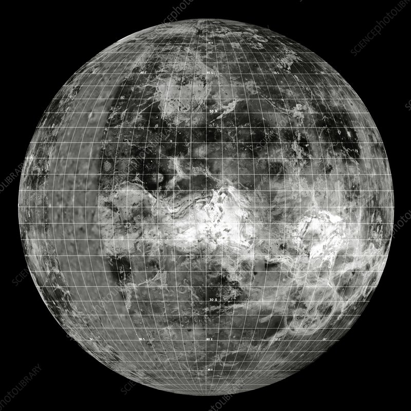 Magellan mosaic of Venus east hemisphere with grid