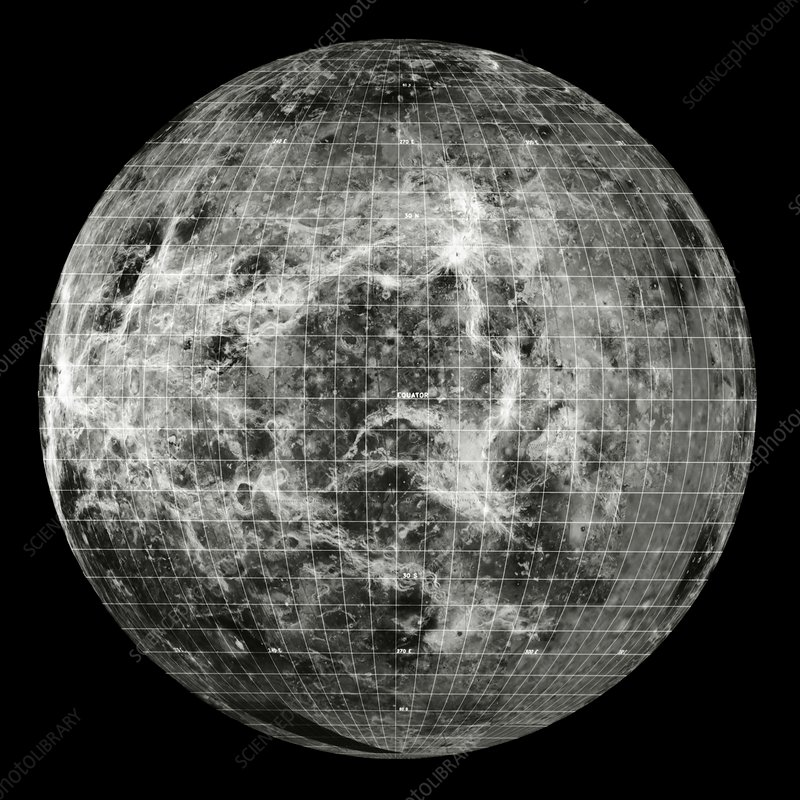 Magellan mosaic of Venus west hemisphere with grid