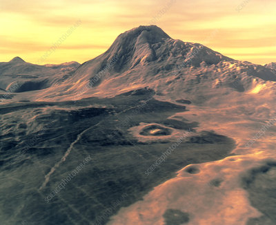 Coloured 3D perspective view of Maat Mons, Venus