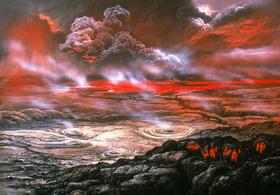 Artwork of lava flows on the surface of Venus