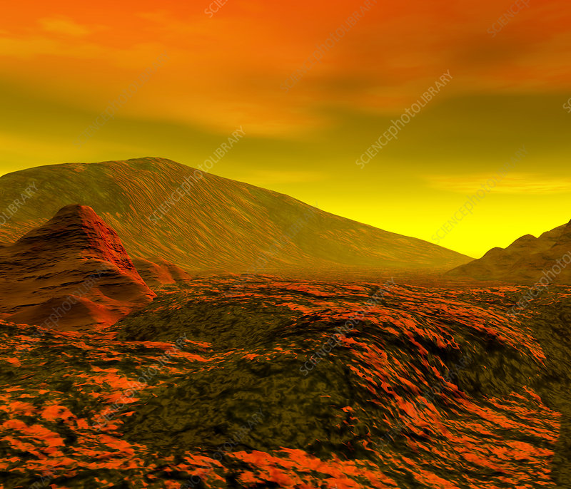 Computer artwork of the surface of Venus