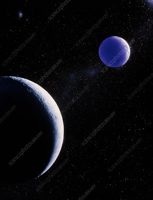 Artwork showing Moon, with Earth in the background