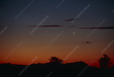 Crescent moon and Venus after sunset