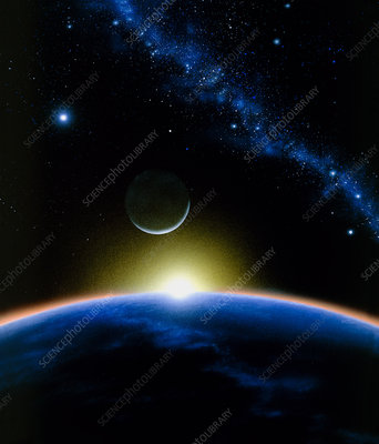Artist's impression of the new moon from orbit