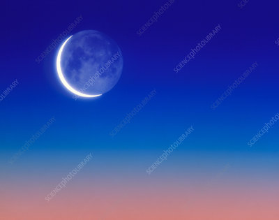 Illustration of Earthshine on Moon's surface