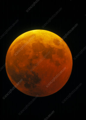 Optical image of a lunar eclipse at totality