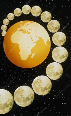 Abstract graphic of Moon orbiting Earth