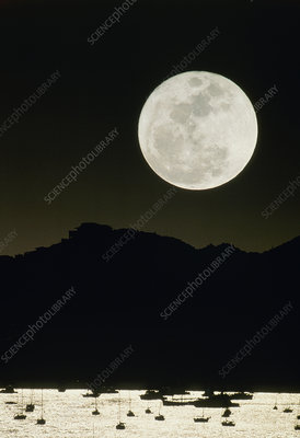 Full moon seen from Earth over mountains