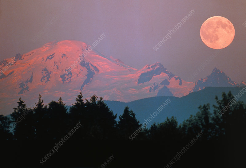 Moonrise over Mount Baker, Washington, USA