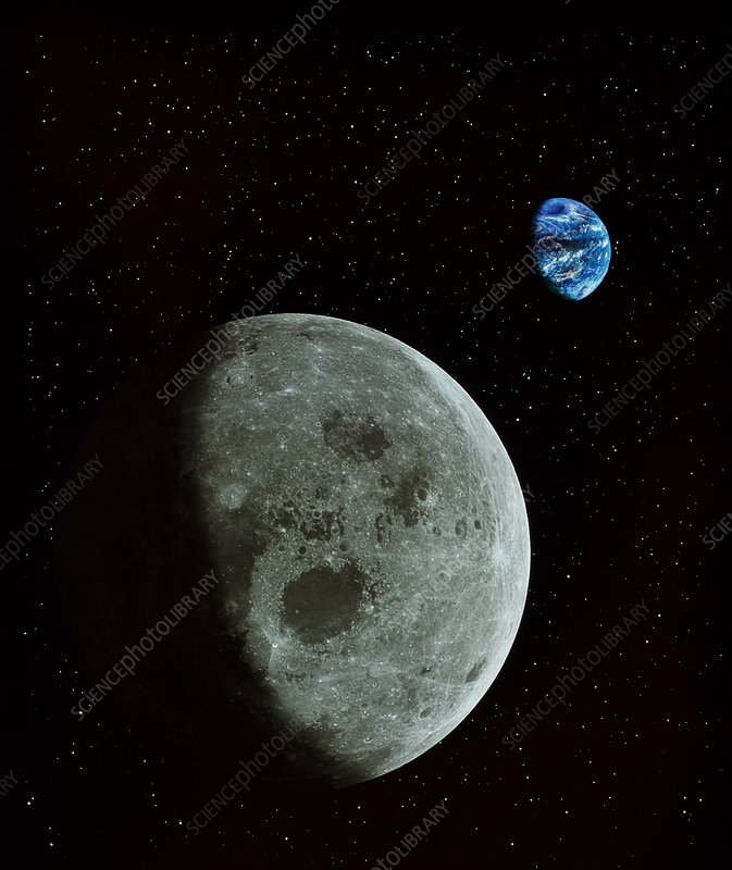 Composite image showing the Moon with Earth behind