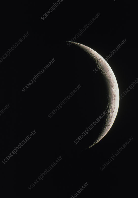 Optical image of a waxing crescent Moon