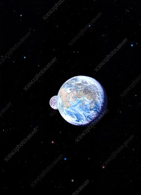 Moon emerging behind the Earth